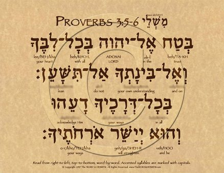 Proverbs 3:5-6 Hebrew Poster (ECO)
