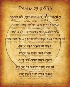 Psalm 23 Hebrew Poster (V.1)
