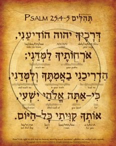 Psalm 25:4-5 Hebrew Poster (V.1)