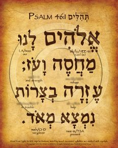 Psalm 46:1 Hebrew Poster (V.1)