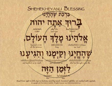 Shehekheyanu Prayer Hebrew Poster (ECO)