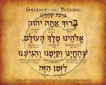 Shehekheyanu Prayer Hebrew Poster (V.1)