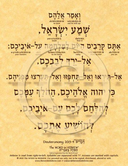 Deuteronomy 20:3-4 in Hebrew ECO (web)