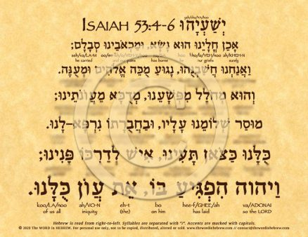 Isaiah 53:4-6 in Hebrew ECO (web)