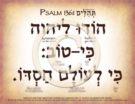 Psalm 136:1 in Hebrew PDF Download (web)