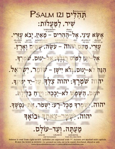 Psalm 121 in Hebrew DOWN (web)